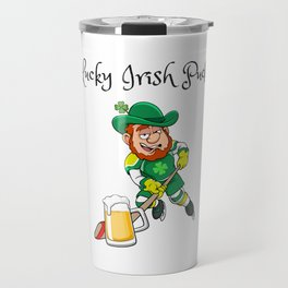 Lucky Irish Puck - Funny and Unique Irish Hockey St. Patrick's Day Design Travel Mug