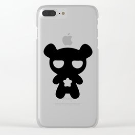 Cute Lazy Bear Black and White Clear iPhone Case