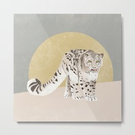 Snow Leopard Yellow Grey Metal Print