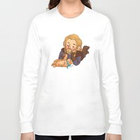 fili Long Sleeve T-shirts featuring Fili and Kitten by Hattie Hedgehog