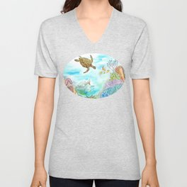 Turtle Reef Unisex V-Neck