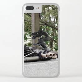 Japanese dragon water spout Clear iPhone Case