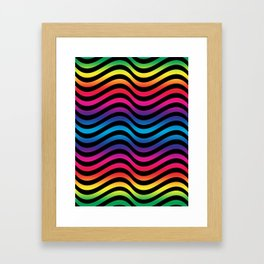 Wiggly Vibrant Multicolour Lines Framed Art Print
