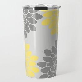 Big Grey and Yellow Flowers Travel Mug