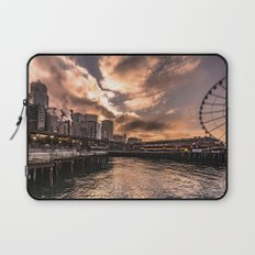 Seattle Waterfront near Pike Place Market at sunrise - skyline travel pink Laptop Sleeve