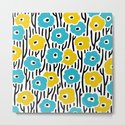 Mid Century Modern Wild Flowers Pattern Turquoise and Yellow by tonymagner