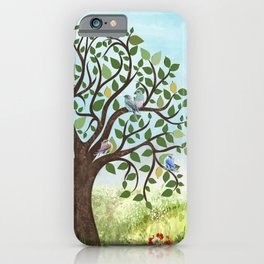 Little Song Birds in a Lovely Tree iPhone Case