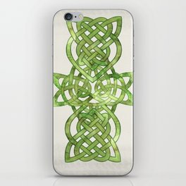 Celtic Knot:  Green Watercolor with complex form - Ireland - traditional folk art iPhone Skin