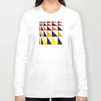 yellow pattern Long Sleeve T-shirts featuring Red Yellow Triangle Pattern by Gary Andrew Clarke