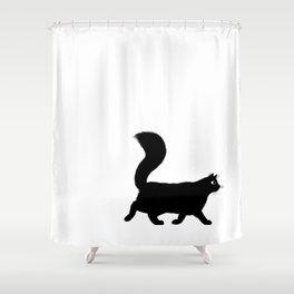 Walking Black Cat Shower Curtain