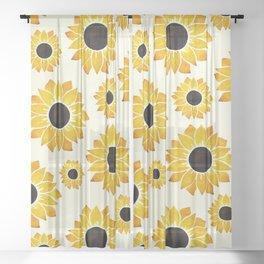 Sunflower Watercolor Pattern Sheer Curtain