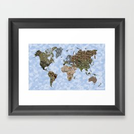 CAMO WORLD ATLAS MAP (blue) Framed Art Print