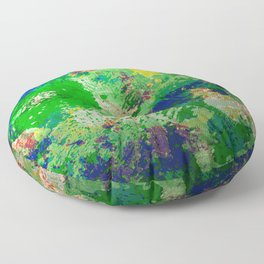 Spring Time Splatter - Abstract blue and green platter painting Floor Pillow