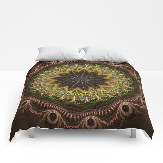Groovy fractal mandala with tribal patterns Comforters