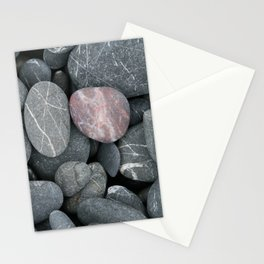 Pink rock on a grey beach Stationery Cards