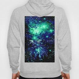 Fox Fur Nebula Galaxy Teal Midnight Blue Hoody