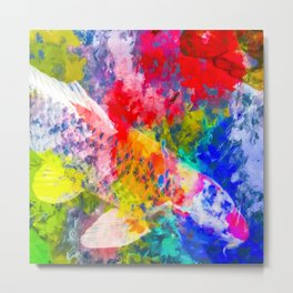 koi fish with painting texture abstract background in red blue yellow green Metal Print
