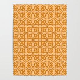 Ethnic tile pattern orange Poster