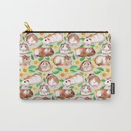 Guinea Pigs and Daisies in Watercolor Carry-All Pouch