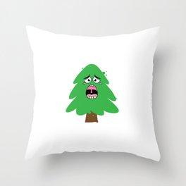 Crying Christmas Tree Throw Pillow