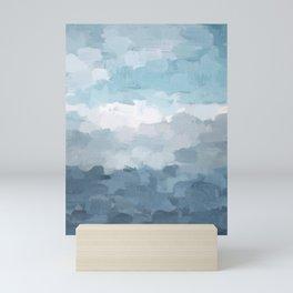 Indigo Navy Sky Blue Gray White Ocean Horizon, Abstract Sea Rainy Cloudy Stormy Water, Painting Art Mini Art Print