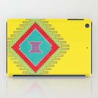 kilim iPad Cases featuring Persian Kilim - Yellow Background - Distressed by Katayoon Photography & Design