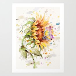 Hand In Hand (Butterfly & Sunflower) Art Print