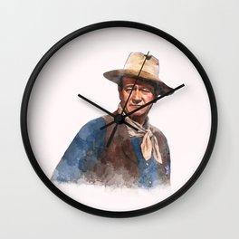 John Wayne - The Duke - Watercolor Wall Clock