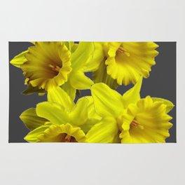 YELLOW SPRING DAFFODILS & CHARCOAL GREY COLOR Rug
