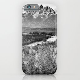 Grand Teton Black & White Wyoming National Park Mountain Landscape iPhone Case