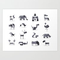 calligraphy Art Prints featuring Calligraphy Animals by Andrew Fox