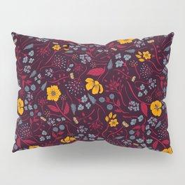 Mustard Yellow, Burgundy & Blue Floral Pattern Pillow Sham