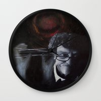 vonnegut Wall Clocks featuring Kurt Vonnegut by MucklowArt