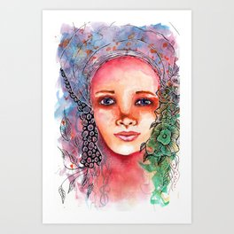 Flower Beauty   Whimsical face with flowers. Floral. Watercolor Art Print