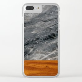 Marble and Wood 3 Clear iPhone Case