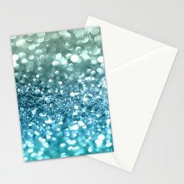 Seafoam Aqua Ocean MERMAID Girls Glitter #4 #shiny #decor #art #society6 Stationery Cards