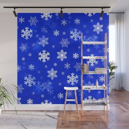 Light Blue Snowflakes Wall Mural