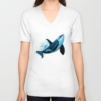 orca V-neck T-shirts featuring The Dreamer  ~ Orca ~ Killer Whale by Amber Marine