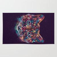 space cat Area & Throw Rugs featuring Space Cat by dan elijah g. fajardo