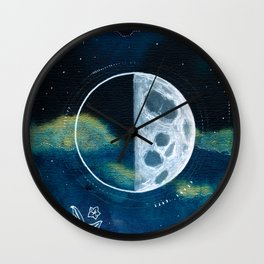 Quarter Moon Original Mixed Media Painting Wall Clock