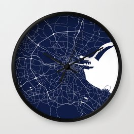 Dublin Street Map Navy Blue and White Wall Clock