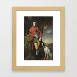 George Romney PORTRAIT OF PETER WOODHOUSE (B. 1745), FULL-LENGTH, WEARING A RED COAT, WITH HIS BLACK Framed Art Print