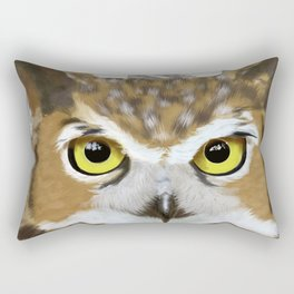 Great Horned Owl & Poly Thoughts Rectangular Pillow