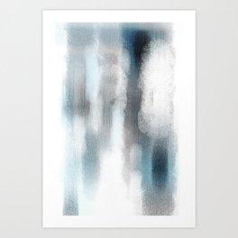 Pastel blue and white minimal painting Art Print