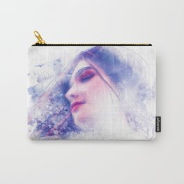 Blue Profile Girl Sketch Carry-All Pouch