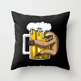Lazy Sloth Drinking Beer Party Throw Pillow