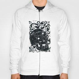 Black Lino Skull Hoody