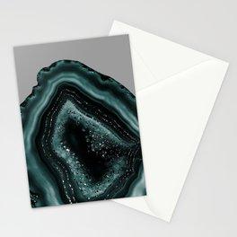 Teal Agate Black Glitter Glam #2 #gem #decor #art #society6 Stationery Cards
