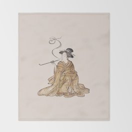 Vintage Oriental Antique Japan Smoking Lady Throw Blanket