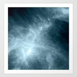 Steel Stone Teal Blue Nebula Galaxy Art Print